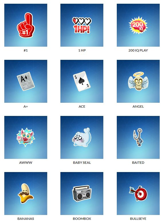 lista de emoticones fortnite